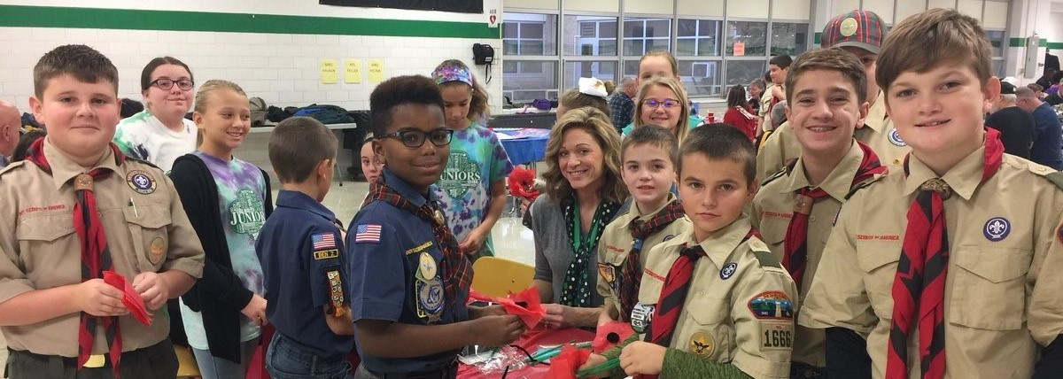 Eisenhower scouts help out with veterans breakfast.