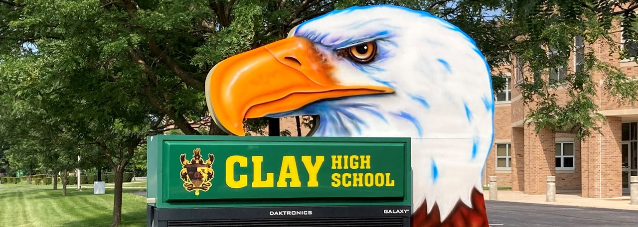 Newly Painted Clay Eagle Display