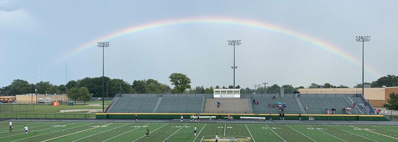 Rainbow above Clay Memorial Stadium